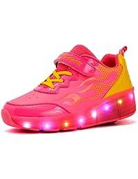 Skybird-UK Unisex Kinder LED 7 Farbe Farbwechsel Lichter Blinken Schuhe Mit Rollen Skateboardschuhe Rollschuhe Outdoor Gymnastik Sneaker für Junge Mädchen
