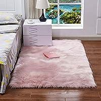 Long Plush Ultra Soft Fluffy Rugs Rectangle Shape Faux Sheepskin Wool Carpet Rug for Living Room Bedroom Balcony Floor Mats (300 x 300mm)