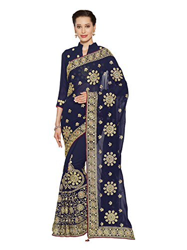 SOURBH Women's Heavy Embroidered Wedding Bridal Saree with blouse piece (3782_Navy Blue)