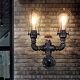 WEI American Retro Industry Feng Shui Pipe Wall Lamp Bar Bar Restaurant Loft Personality Creative Iron Wall Lamp