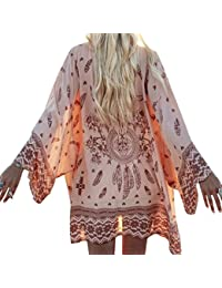 Ocamo Women Fashion Beach Blouse Chiffon Cardigan Sunscreen Covers Breathable Summer Tops