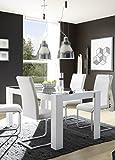 Beauty.Scouts Esszimmertisch 'Venecia' - Tisch, Küchentisch, Esstisch, mit grauer Glasplatte, ohne Stühle, B/H/T: 160 x 76 x 90 cm, Esszimmer, Küche, in hochglanz weiß