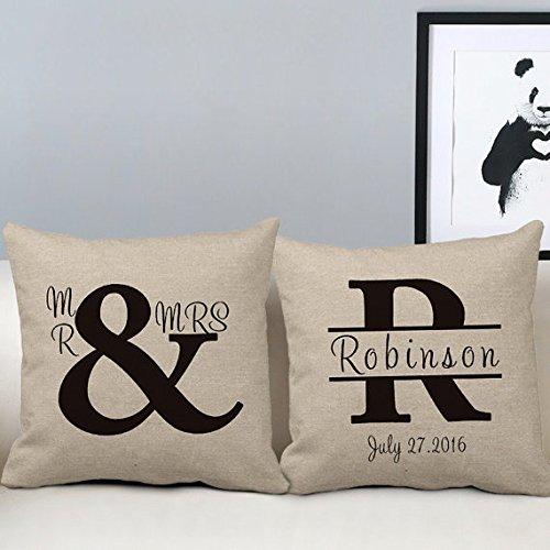 18x 18Herr und Frau Werfen Kissen Set von 2Personalisierte letzten Namen Hochzeit Geschenke für Paare