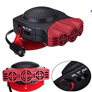 TKSTAR Heating Auto 12 V, Portable, Electric Fan Heater, Demister With Fan For Windows, Hot/Cold, 150 W, 180 ¡ã Rotary, Resistance in Ceramic, 711038 red