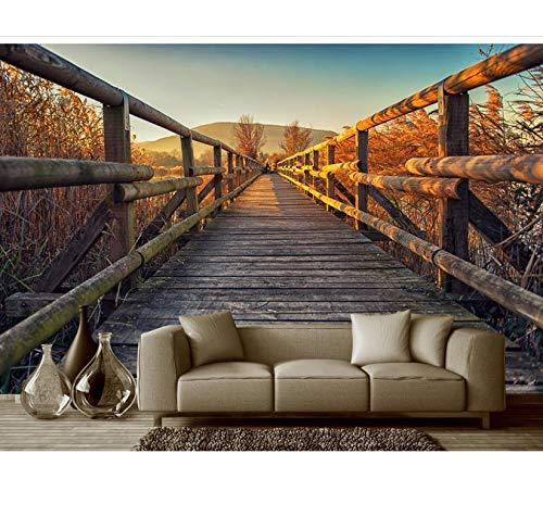 Mkkwp Benutzerdefinierte Jede Größe Tv Hintergrund Wandbild Wall Paper Original Nackte Auge 3D Space Holzbrücke Hintergrund Wandmalerei-140Cmx100Cm