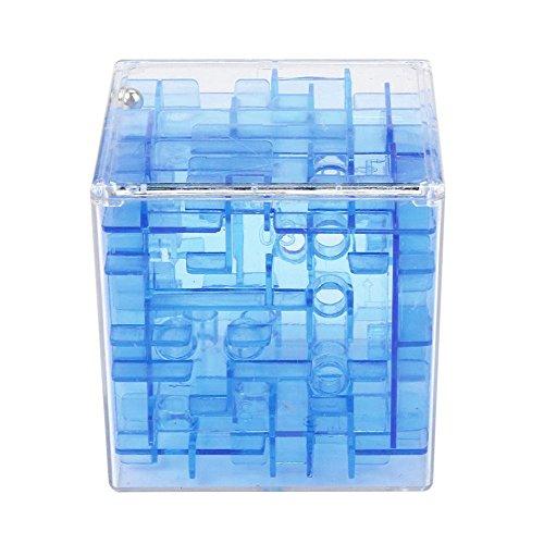 Letter* 3D Cube Puzzle dinero del laberinto Banco de ahorro moneda Colección Caja Caja Fun Brain Game (Azul3)