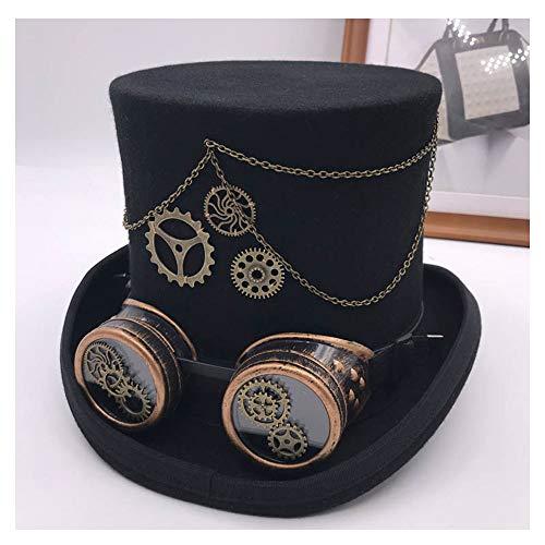 Baianf Vintage Steampunk Gear Headwear Gothic Lolita Cosplay Hut Brille Floral Schwarz Zylinder Punk Style Fedora (Farbe : Schwarz, Größe : 57cm)