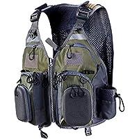 PELLOR Chaleco de Pesca, Multi-Bolsillo Transpirable Malla para Fotografía de Caza al Aire Libre de Acampada (Tamaño Ajustable) (Verde y Gris)