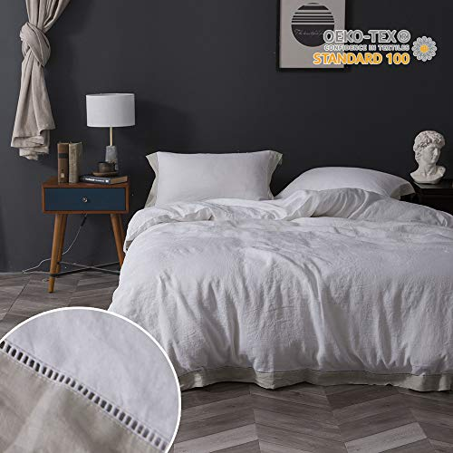 KING Einfache & Opulence 100% Leinen Stone Washed 3Solid Pure Color Hohlsaum Spitze Bettbezug Set, Linen Border, Queen -