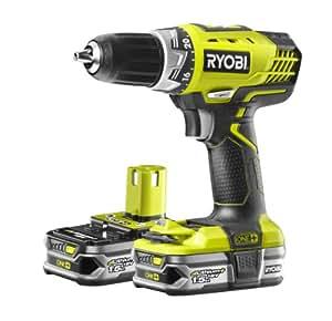 Ryobi Kompakt-Bohrschrauber RCD18022L, kraftvoller Akkuschrauber mit 1800 W, lange Akkulaufzeit, mit Motorbremse, Bit-Magnet und LED-Arbeitslicht, Art.-Nr. 5133001929