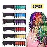 Kyerivs Haarkreide temporäre Haar Farbe Farbstoff für Kid Mädchen Party und Cosplay DIY Festival Kleid bis funktioniert auf allen Haar Farben schwarz Griff Mini 6