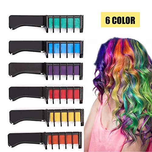 (Kyerivs Haarkreide temporäre Haar Farbe Farbstoff für Kid Mädchen Party und Cosplay DIY Festival Kleid bis funktioniert auf allen Haar Farben schwarz Griff Mini 6)