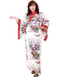 Princess of Asia Große Größen Japan Yukata Satin Geisha Kimono + Obi Gürtel Cosplay Morgenmantel L – XL