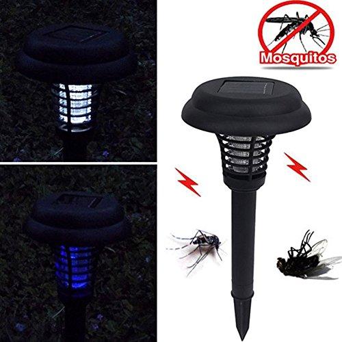 OSISTER7Solar Power Insektenkiller Lampe, LED Mosquito Killer Lampe, Outdoor Solar Powered Wasserdicht Pest Bug Mosquito Killer Lampe für Garten Rasen, Schwarz