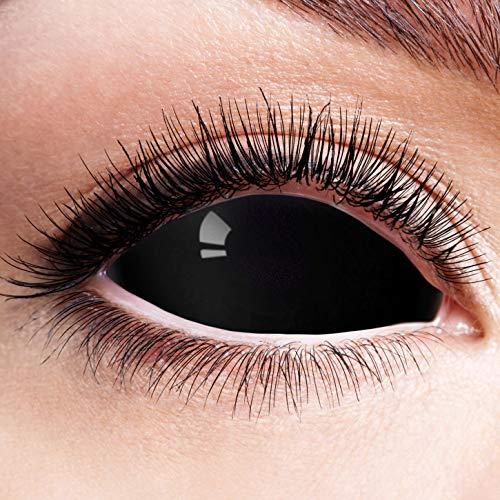 n Schwarz Motivlinsen Ohne Stärke Motiv Linsen Halloween Karneval Fasching Cosplay Anime Kostüm Sclera 22mm Black Eyes Komplett Schwarze Augen Eye ()