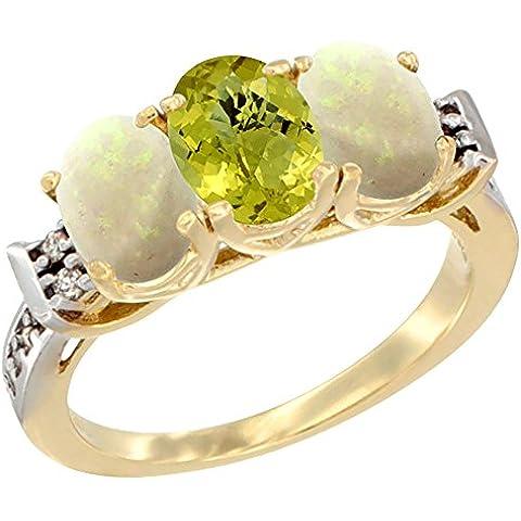14kt oro giallo limone quarzo naturale e opale anello lati 3-Stone ovale 7x 5mm Diamante Accent, taglia