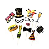 10pcs New Year's Eve 2018 Photo Booth Props Funny Selfie Photography Kit Party Decoration - Ready on Stick by Trimming Shop