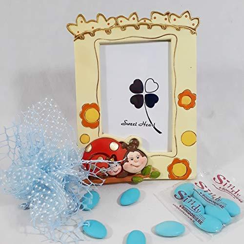 Cornice portafoto con gufetto, elefante, coccinella bomboniera per bimbo bimba nascita e primo compleanno (cornice con coccinelle, maschietto)