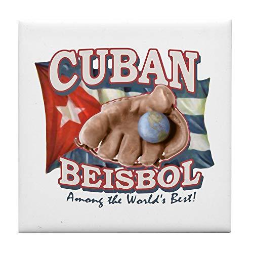 CafePress Cuban Beisbol Baseball Fliesenuntersetzer, Kleiner Untersetzer