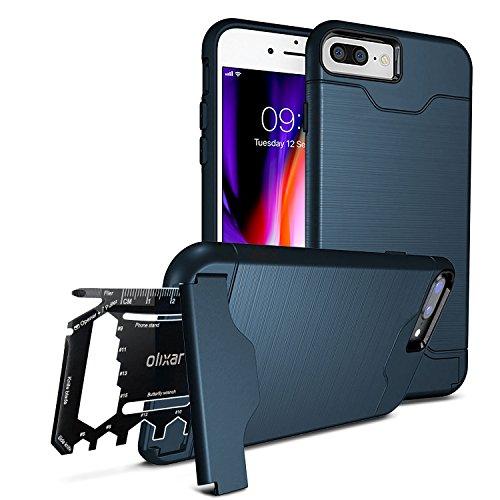 iPhone 7 Plus Military Case / Rugged Hülle / Survival - Kartenfach / Kartenslot - TPU Schale - Standfunktion - Olixar X-Ranger - Multi Tool - Marineblau - Kompatibel Mit iPhone 8 Plus