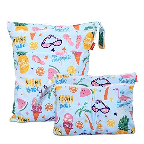 Damero 2 Stück windeltasche wetbag wiederverwendbar, Nasstaschen für Unterwegs, Wetbag windelbeutel für Babys Windeln, schmutzige Kleidung und anderes Zubehör, (Groß + Klein, Sommerurlaub)