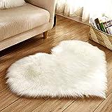 Berrose-Nachahmung Schaffell-Teppiche Kunstpelz Rutschfest Shaggy Teppichmatten im Schlafzimmer Herzförmig Flauschig Teppiche Nicht Beleg Teppich Matten haarige Sitzauflage