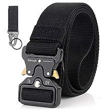 Bansga Cintura Militare Tattica per Uomo Heavy Duty Cintura Militare con Cintura Cintura in Nylon Resistente per Caccia Esecuzione di Esercizi Militari(A-Nero)