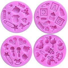 Idea Regalo - 4 Pack Stampi in Silicone Fondente Torta, Chocolate, Gelatina,Candy Mold, Cupcake diy Strumento di Decorazione di Baby Shower Silicone Fondant Molds Rosa