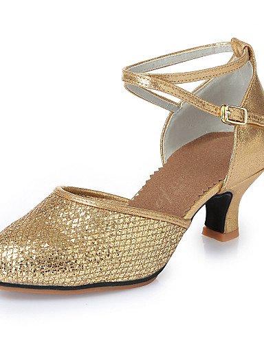 La mode moderne Sandales femme Chaussures Chaussures de danse moderne en simili cuir Sequins en talons Talon Indoor Or Argent 5.5CM semelle en caoutchouc M275 M285 US8.5/EU39/UK6.5/CN40