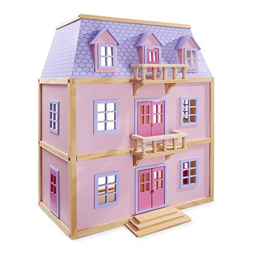 Melissa & Doug Mehrstöckiges Puppenhaus aus Holz mit Möbeln (19 Teile) (Melissa Puppe Und Doug)