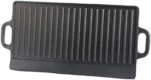 Rosenstein & Söhne Grillplatte Gusseisen: Gusseiserne Wende-Grillplatte für Ofen, Herd & Grill, 51 x 23,5 cm (Grillplatte für Elektroherd)