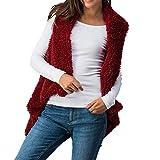 KCatsy Femme Taille Plus Surdimensionné Gilet Gillet Blouson Nounours Sherpa Manteau Fausse Fourrure Poilu Polaire Gilet sans Manche(XL(FR 42),Bourgogne Rouge)...