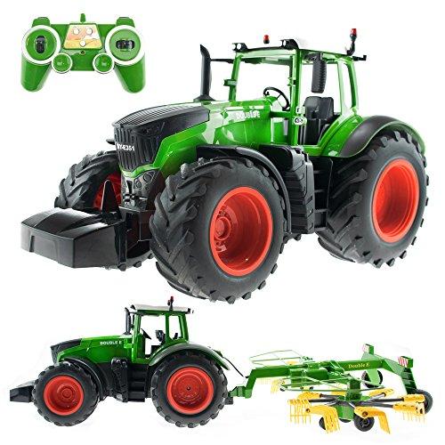 efaso E351-003 1:16 2,4 GHz Ferngesteuerter RC Traktor Trecker mit Heuwender und Licht- und Soundeffekten - Komplett RTR*