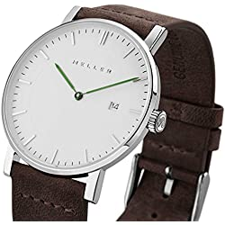 Meller Unisex Dag Earth Minimalist Watch with White Analogue Display and Leather Strap