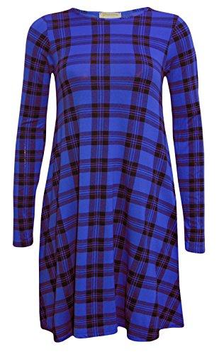 Fashion 4 Less - Robe - Swing - Manches Longues - Femme Bleu - Bleu marine