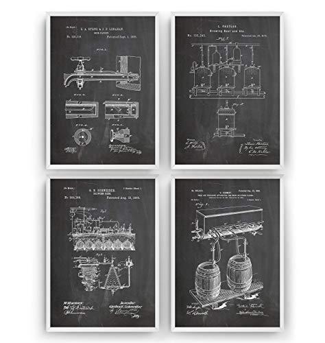 Bier brauen Patent Poster - Satz von 4 - Brauerei Trinken Bar Herstellung Kneipe Mauer Zeichnungen Print Art Kunst Wissenschaft Entwurf Geschenke Vater - Rahmen nicht enthalten