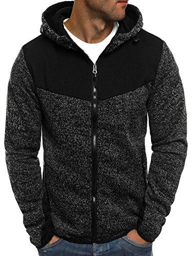 OZONEE Herren Sweatshirt Pullover Kapuzenpullover Pulli Sweats J.STYLE AK40 M SCHWARZ