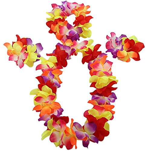 Vertvie Hawaii-Blumen-Set hawaiianischen Hula-Kostüm-Tanz-Kostüm für Kinder (One Size, Bunt)