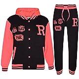 A2Z 4 Kids® Kinder Mädchen Jungen Baseball Trainingsanzug NYC FOX Jacke & Hose - T.S Baseball Fox Black & Neon Pink 7-8