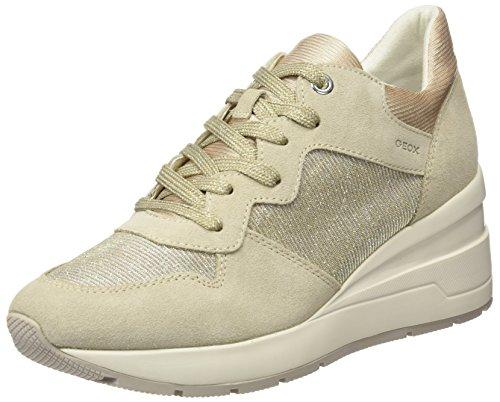 Geox Damen D ZOSMA C Sneaker, Beige (Lt Taupe), 36 EU - Perforierte Leder-plattform