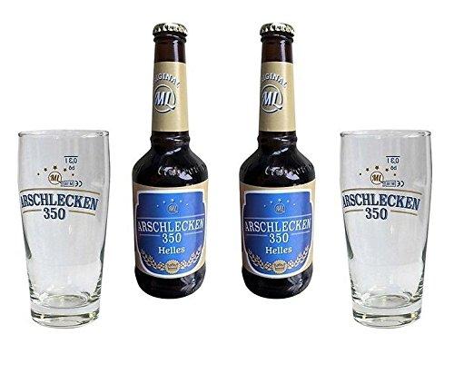 350: 2 Biergläser 0,33 l, 2 Helle Arschlecken350 Biere 0,33l, 5,2% vol - Sepp Bumsinger Geschenkset Partygeschenke ()