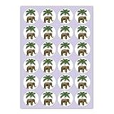 24 klassische Glücks Aufkleber   Sticker mit Elefant unter Palme, MATTE universal Papieraufkleber für Geschenke, Etiketten für Tischdeko, Pakete, Briefe und mehr (ø 45mm - 2