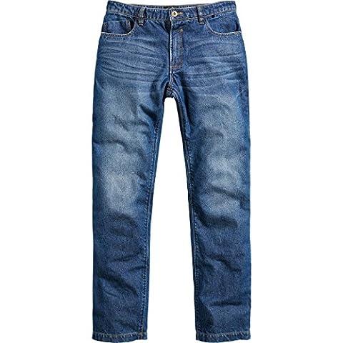 Motorradjeans Spirit Motors Herren Aramid-/Baumwolljeans 1.0 Motorradbekleidung, Jeans Motorradhose, Bikerhose mit Schutzfunktion, blau, 32W / 34L