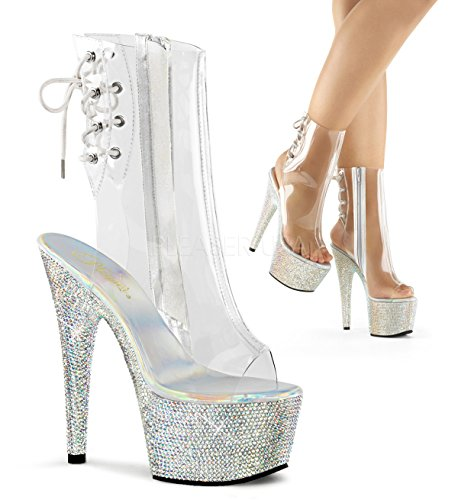 Pleaser BEJEWELED-1018DM-7 (Clear And Silver Multi Rhinestone)