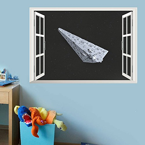 Wapel Kreative Home Decor Fake Fenster Wand Aufkleber Star Wars Raumfahrzeuge Muster Für Das Wohnzimmer 50 * 70 Cm Wandbild Kunst Aufkleber Wallpaper
