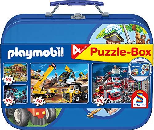 Schmidt Spiele 55599 Playmobil 2, Puzzle-Box im Metallkoffer, 2x60 und 2x100 Teile Kinderpuzzle, bunt