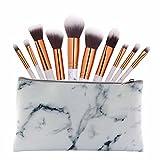 SMILEQ 9 Stücke Marmor Kosmetik Make-Up Pinsel Rouge Lidschatten Pinsel Set Kit (10Pcs Brush +1pcs Bag, Weiß)