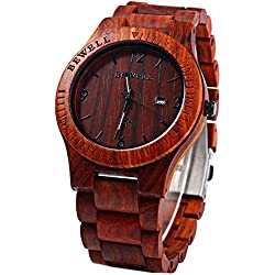 Koiiko® BEWELL Men Wooden Watch Wood Gents Watches Analog Quartz Movement Date Display Wristwatches - Red Sandalwood