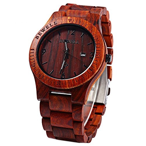 Bracciale in legno realizzato a mano, Megadream in Legno Orologio da uomo Quarzo Analogico Water resist wristatch cintura con importati Giappone movimento al quarzo e display data di calendario cinturino, 5 colori disponibili