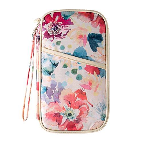 Damen Blumendrucken Reisepasshüllen Reisebrieftasche Reisepass Ticket Tasche Dokumententasche Reiseetui Reiseorganizer Wasserdicht mit Handschlaufe (Rosa)
